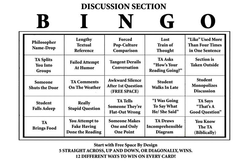 Discussion Section Bingo